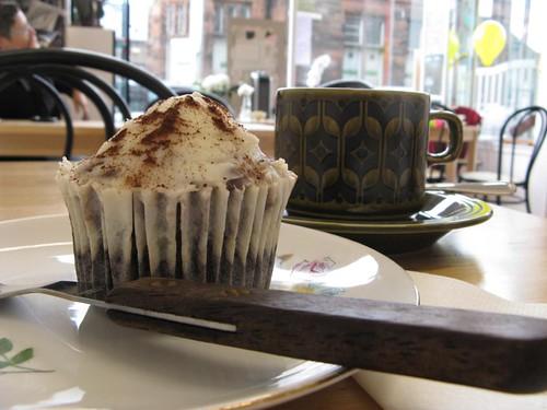 Chocolate cheescake cupcake at Skylark Cafe by MadeleineS
