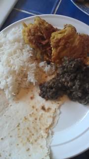 yummy dhal and onion bhajis