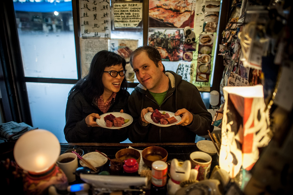 Lily and me with breakfast sushi at Yonehana photo by Jiro Yonehana