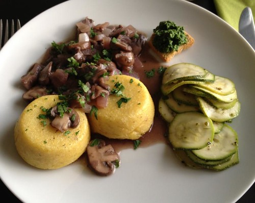 Polenta cakes with wine-stewed mushrooms and marinated zucchini (1st Kookgrrls Cookalong: Italy)