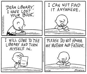 Charlie Brown library cartoon