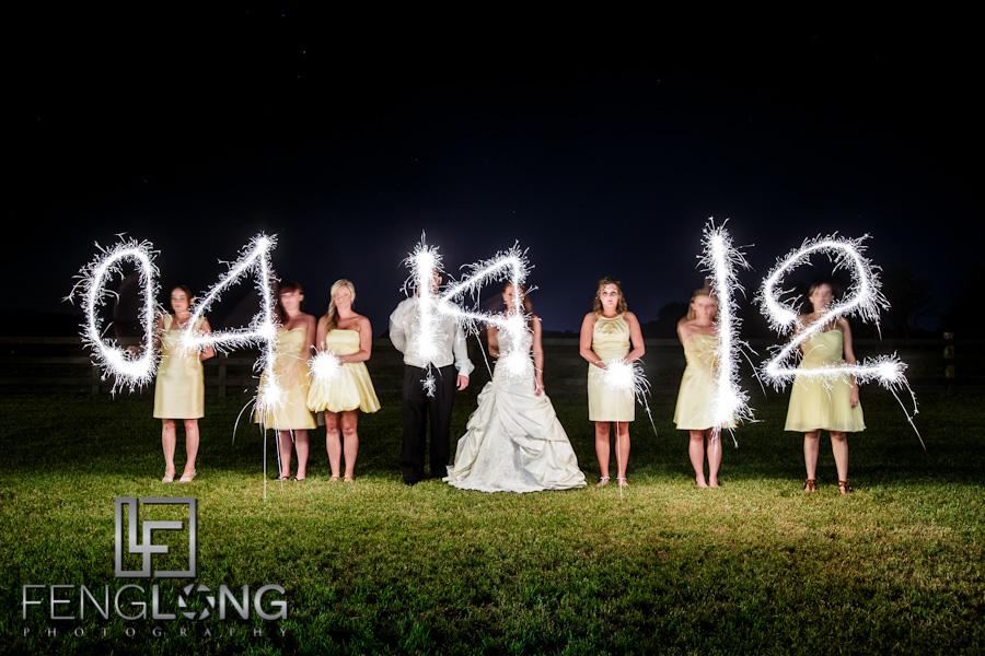 Wedding Date in Sparklers | Misty & Jonathan's Wedding | Tryphena's Garden | Fort Valley Perry Macon Wedding Photographer