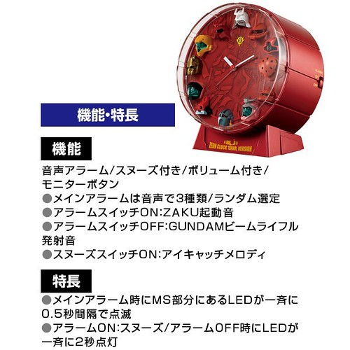 Zeon Themed Gundam Lightup Analog Clock (2)