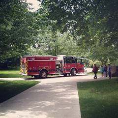 Fire Truck on River Bike Path