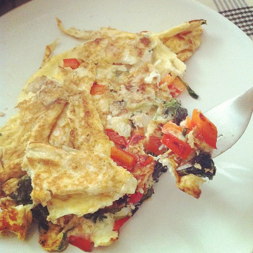 Gettin pretty good at this omelette business. (From this morning).