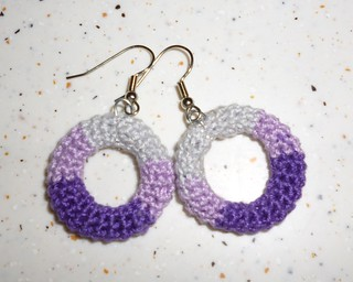 Purple and Grey Colourblock Hoop Earrings