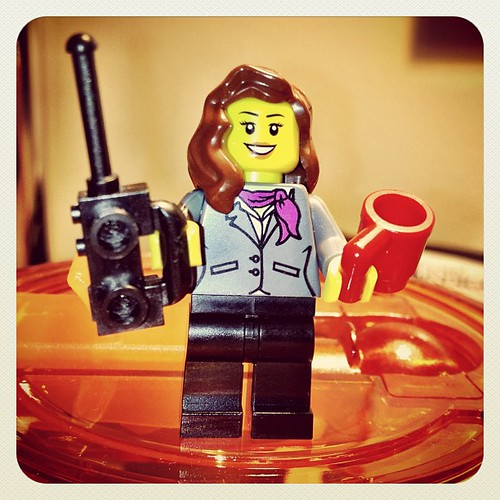 My #CALIcon12 Lego alter-ego, complete with cell phone and tea mug.
