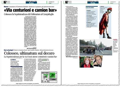 """Roma: Collosseo & Via dei Fori: """"Via centurioni e camion bar,"""" La Soprintendenza da` l'ultimatum al Campidoglio. Corriere Della Sera, (29/03/2012), p. 1. by Martin G. Conde"""