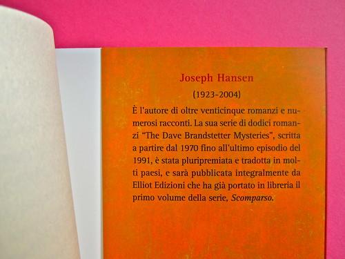 Joseph Hansen, Atto di morte, Elliot 2012. cover design e illustration: IFIX. Risvolto della quarta di copertina (part.), 2
