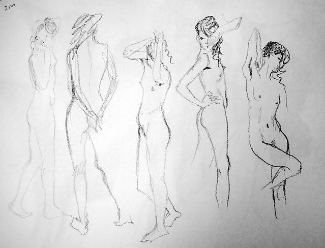 Long-limbed model in quick b/w gesture sketches