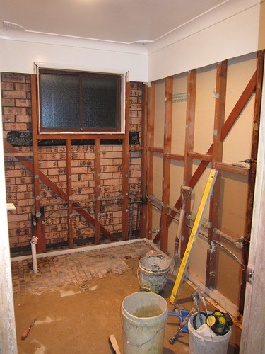 Upstairs bathroom, gone!