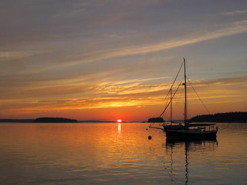 Sunset Wooden boat school