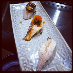 Hamachi aburi, salmon belly sushi, scallops with foie gras
