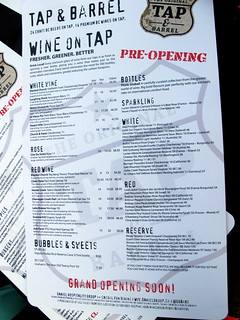 Tap and Barrel Pre-Opening Wine Menu