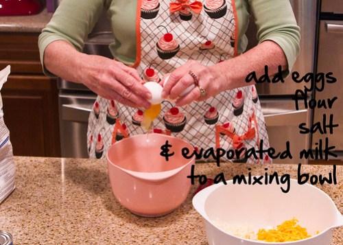 add eggs, flour, salt, evap milk