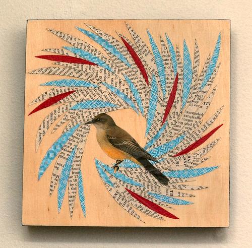 Bird collage on wood-2