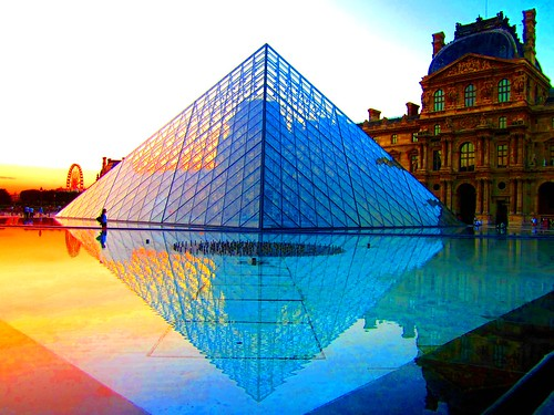 The Louvre Pyramid at sunset