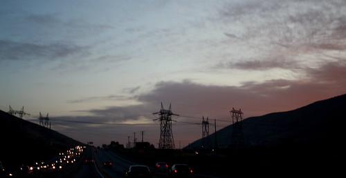 Sunrise; Powerlines; Traffic