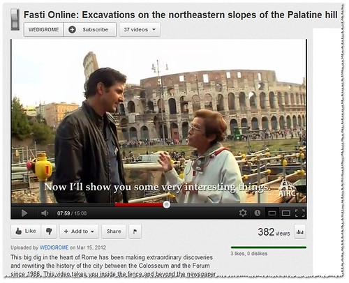 """Prof. Clementina Panella, """"Now I will show you some very interesting things,"""" in: Fasti Online: Excavations on the northeastern slopes of the Palatine hill. FASTI-ONINE / AIAC (March 15th, 2012). [Video: 15.08]. by Martin G. Conde"""