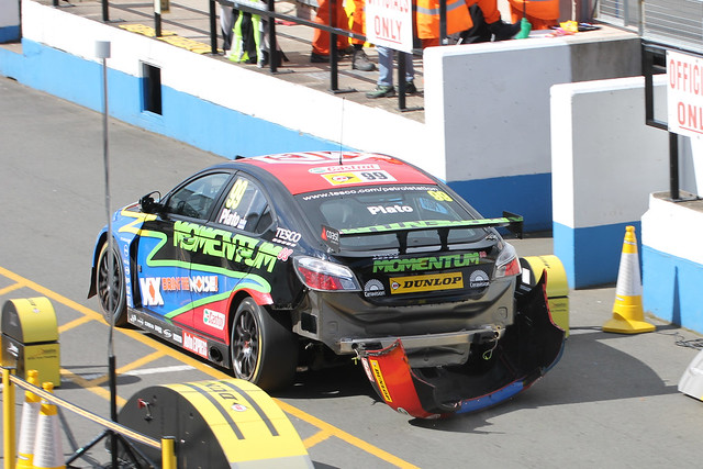 Jason Plato's damaged car in the pits at BTCC in Donington Park, April 2012