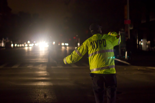 On Day 2 of no power, police arrived at night to direct traffic...since there were no longer any functioning street lights.