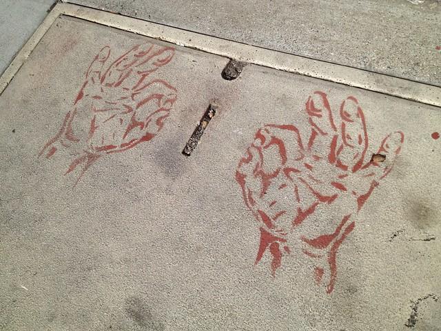 A-OK hand signal sidewalk stencil