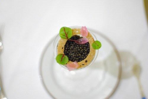 Sterling White Sturgeon Caviar Vidalia onion soubise, Hobbs Shore bacon, rye panna cotta & red ribbon sorrel (Rory Hermann, Bouchon)