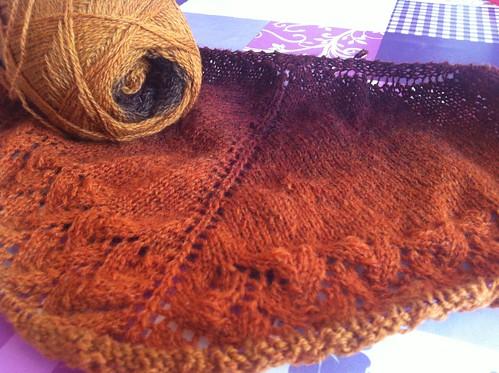 Ishbel shawl in Kauni - WIP