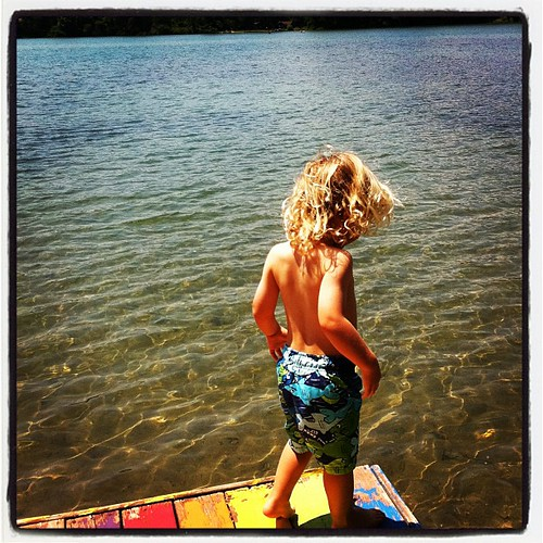 Finn visits Sugden Lake (MI), which I swam in as a child, as my parents did before me...