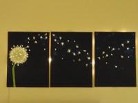 Three-panel, dandelion wall art that lights up! | @offbeathome