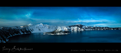 Crate Lake Panorama by Terry Schmidbauer
