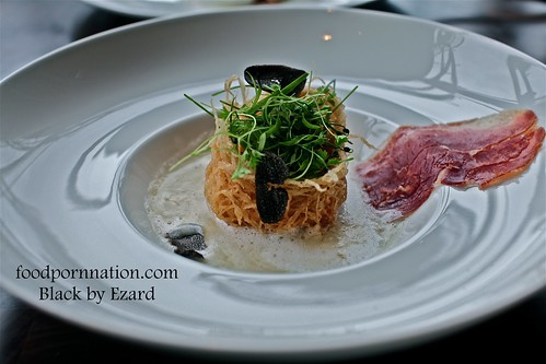 Organic Farm Egg, Potato cream, truffles, iberico ham, herb salad @ Black by Ezard