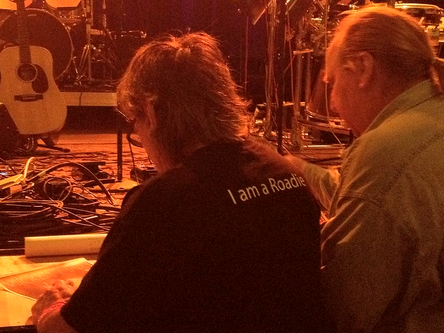 "The back of @mickeyhart's shirt: ""I am a roadie."""