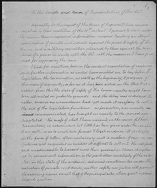 Message of President Thomas Jefferson concerning the Aaron