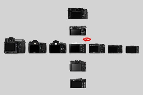 PENTAX K-01 comparison with other cameras (Rear View)