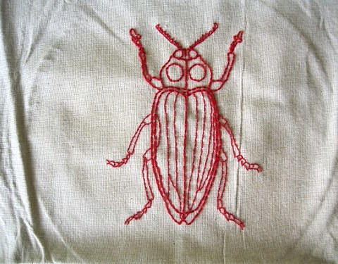 Embroidery Redwork Beetle