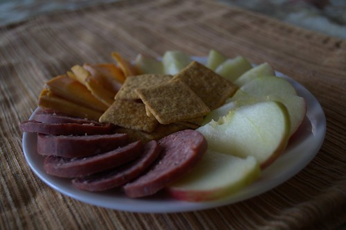 Sausage, apple, smoked cheddar, and Wheat Thins