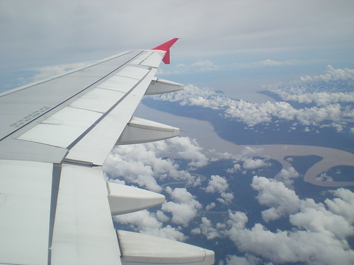 Air Asia over the Rejang River