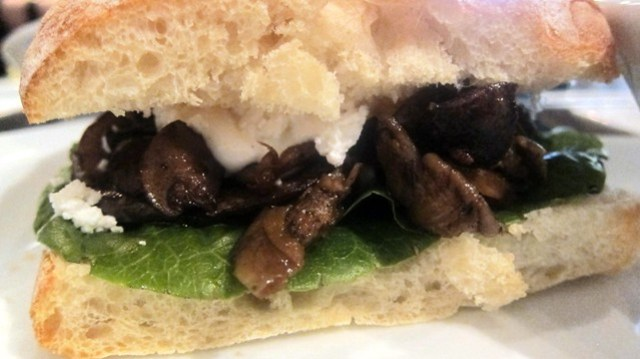 roasted mushroom sandwich at latitude