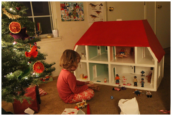 Dollhouse present on Christmas morning