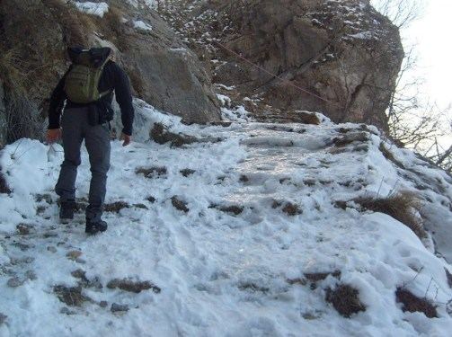 Be careful while climbing Kruja mountain during the winter time - might be slippery