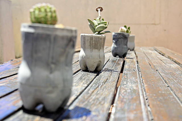 concrete bottle planters