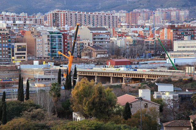 Pont del Treball - Retirada trozo puente 2 - 07-02-12