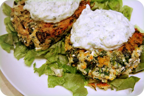 Quinoa Spinach Patties with Tzatziki by Carmyarmyofme