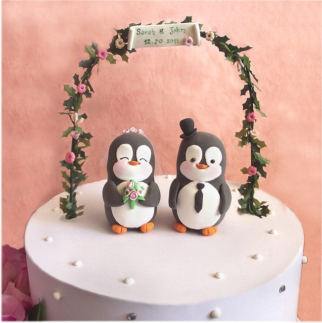 Penguin Wedding Cake Toppers Floral Arc Personalized