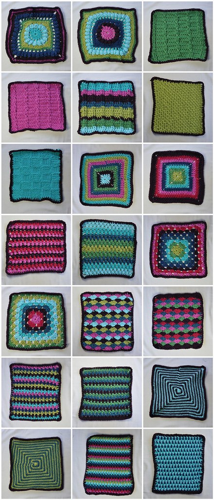 21 of the 24 blocks for my 2011 Odyssey Afghan