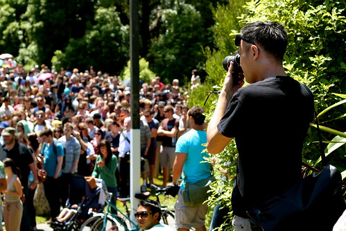 Saturday: photo of Chris photographing the Hobbit crowd