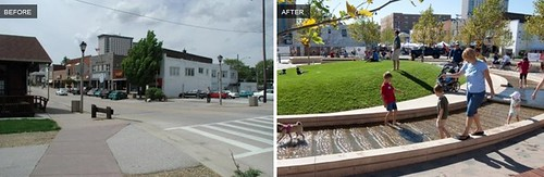Uptown Normal Roundabout, before & after (via Landscape Architecture Foundation)