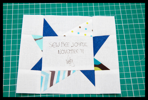 Sew Bee Joyful November Signature Block