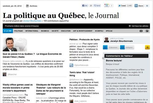 """""""Le Webzine La politique au Québec, le Journal"""""""